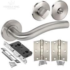 Bathroom Door Handle Pack with Stainless Steel Door Handles, Lock, Turn & Hinges