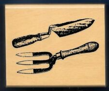 GARDEN YARD TOOLS TROWEL SPADE Fork Hoe Anita's 1999 NEW wood HOBBY RUBBER STAMP