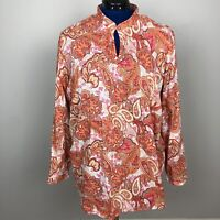 Charter Club Womens Long Sleeve Top Blouse Size20W Multicolor Paisley 100%Cotton