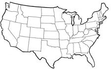 RV & Travel USA States Bumper Sticker Color in Brag Map