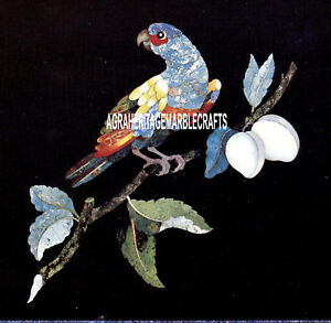 Marble Coner Coffee Table Top Inlaid Beautiful Parrot Inlay Art Home Decor H4035