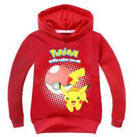 Boys Girls Pokemon Pokeball Pikachu Costume Kids Hoodies Sweatshirt Hooded Tops