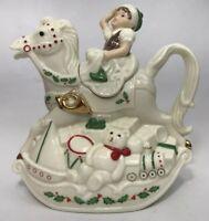 LENOX Christmas Elf & Rocking Horse Teapot Santa's Holiday Toy Shop MSRP $58