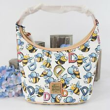 Dooney and Bourke Bumblebee Coated Canvas Natural Leather Bucket Bag NWT