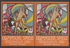 """Sweden Cinderella stamp Pair: Olympische Spiele Games """"Stockholm 1912"""" - ow107"""