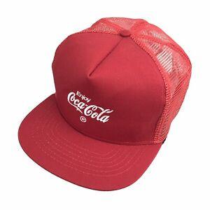 VTG NOS Enjoy Coke Coca Cola Mesh Trucker Cap Hat Snapback RIVERSIDE USA Made