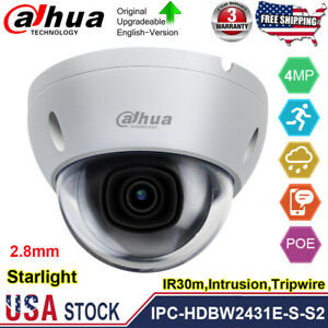 Dahua Starlight 4MP POE Dome IP Camera IPC-HDBW2431E-S-S2 H.265+ IVS IR WDR IP67