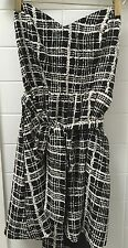 Nookie Size 12 Black White Check Strapless Formal Cocktail Party Dress Business