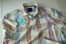 Tommy Bahama Camp Shirt Mo Rockin Plaid Silk Coconut Cream T317687 New Medium M