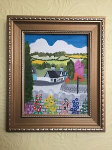 Naive Painting - Oil On Board, Framed - Cottage Scene