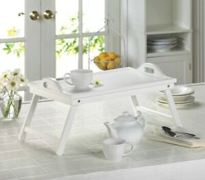 White Serving Tray with Handles or Breakfast in Bed Folding Tray w/ Legs