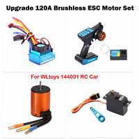 For WLtoys 144001 RC Car 120A Brushless Motor +ESC Set Remote Control Rocker Arm