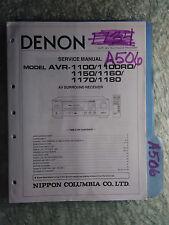Denon avr-1100 rd 1150 1160 1170 1180 service manual original repair book stereo