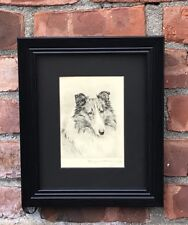 Original 1930's Signed Etching Of Collie Dog By Marguerite Kirmse. Pencil Signed