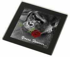 'Yours Forever' Gorilla with Red Rose Black Rim Glass Coaster Animal B, AM-11RGC