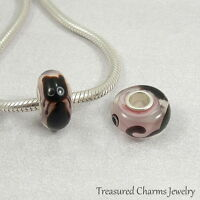 Black Cat Lampwork Glass Large Hole Bead Charm fits European Bracelets