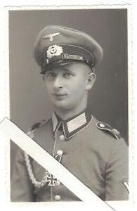 Foto Ak Portrait Soldat EK Schützenschnur Schirmmütze 1941 Leitmeritz WW2 !