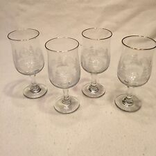 Set Of 4 Libbey Gold Rim White Frosted Trees Glasses Goblets Stemware
