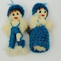 Crochet Knit Boy Girl Pair Miniature Christmas Ornaments Vintage Hand Made Blue