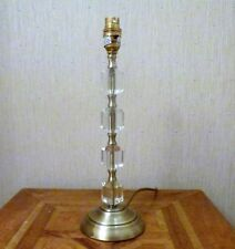 """ANTIQUE BRASS AND CRYSTAL TABLE LAMP BASE 14"""""""