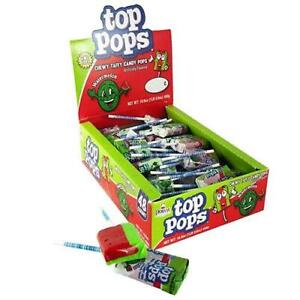 Top Pops Watermelon 10g Chewy Taffy Candy Lollipops 48 Count Box American