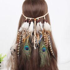 Handmade Peacock Feather Suede Headband Tribal Hair Bead Festival Accessory
