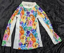 JXSTAR GIRLS SHIRT TOP PUPPIES SIZE 10, JAPAN 150 LONG SLEEVE WHITE MULTICOLOR
