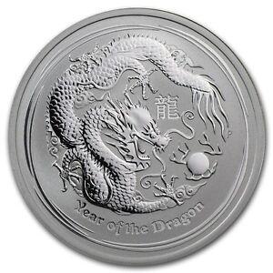 Perth Mint Australia 2012 Dragon 1/2 oz .999 Silver Coin