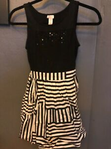 Girls, 'Justice' Summer dress, Black/White, size 10
