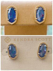 Kendra Scott Ellie Stud Earrings, Indigo Blue Kyocera Opal in Goldtone, NWT $98