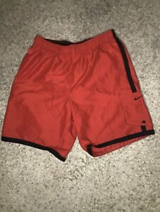 **Nike Black And Red Mens Swim Trunks Size LG with Small Black Nike Swoosh**