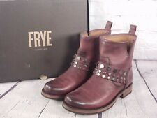 Frye - Leather Studded Motorcycle Boots Booties - Veronica - Plum
