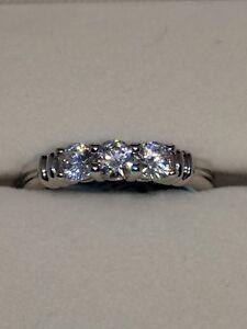 Ladies Ring Three Stone CZ/Cubic Zirconia Sterling Silver