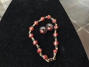 Joan Rivers Goldtone Red Black Ladybug Bracelet & Earrings Set NWOT
