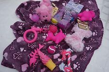 BARGAIN SMALL DOG TOY & BLANKET SET FOR PUG PUPPY CHIHUAHUA DAXIE & TOY DOGS
