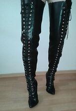 Overknee (Thighhigh) | High Heel Stiefel Schnürung | Gr. 37 | schwarz Echtleder