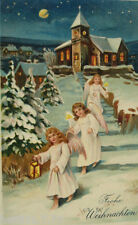 """Weihnachten, Engel, Kirche, Mond, Laterne, Kerze"" 1912, Prägekarte ♥ (17840)"