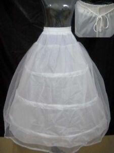 White 3 Hoop 2 Layer Wedding Dress Crinoline Petticoat