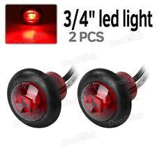 "2pcs 3/4"" Side Marker Clearance Bullet light LED Red Lens 12V Replacement"