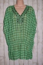 APRICOT:  GREEN SPOTTED BOHO SHEER TUNIC BAT WING SLEEVED COVER UP SIZE 18