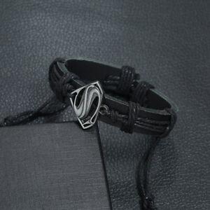 MIP- Black Leather Superman logo design Bracelet