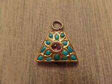 22k Gold Iranian Iran Charm Turquoise Amethyst Handmade EARLY RARE $$$$