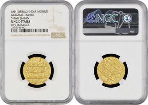 Mughal Shah Jahan Surat Mint Ilahi Azar Gold Mohur NGC Graded UNC Details