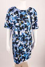 H Halston Women's Dress Small Floral Blue White Career Business Knee Length