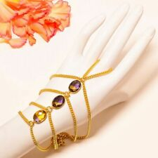 Ametrine Quartz Gold Rhodium Plated Ring Hand Bracelet Adjustable S192
