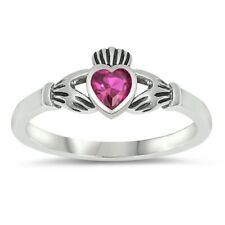 Claddagh Ring Sterling Silver 925 Baby Jewelry Ruby CZ Face Height 7 mm Size 7