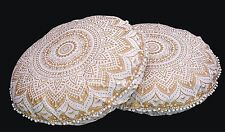 2 PC Gold Ombre Indian Mandala Floor Pillow Bohemian Round Cushion Covers Poufs
