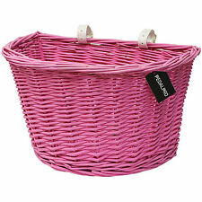 PEDALPRO PINK WICKER BICYCLE BASKET WITH LEATHER STRAPS BIKE/CYCLE SHOPPING