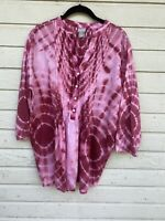 Chico's Women's Size 3 XL Pink Tie Dye Pintuck 3/4 Sleeve Top Blouse