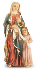 "Saint Anne With Mary Statue, Hand Painted Gold Leaf Accents 4"", Boxed"